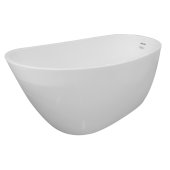 SERENITY 60'' White Contemporary Oval Freestanding Acrylic Insulated Bathtub, 59-1/2'' W x 28-3/4'' D x 27'' H