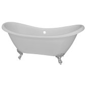 Double 68'' Slipper White Acrylic Clawfoot Tub with Brushed Nickel Feet, 68'' W x 28'' D x 30'' H