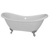 Double 68'' Slipper White Acrylic Clawfoot Tub with Chrome Feet, 68'' W x 28'' D x 30'' H