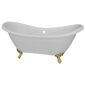Double 68'' Slipper White Acrylic Clawfoot Tub with Gold Feet, 68'' W x 28'' D x 30'' H
