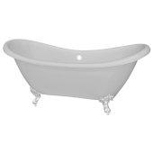 Double 68'' Slipper White Acrylic Clawfoot Tub with White Feet, 68'' W x 28'' D x 30'' H