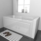 STARK 60'' W x 30'' D White Acrylic Contemporary Bathtub with Decorative Integral Skirt Left Hand Drain, 60'' W x 30'' D x 22'' H