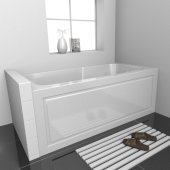 STARK 60'' W x 30'' D White Acrylic Contemporary Bathtub with Decorative Integral Skirt Right Hand Drain, 60'' W x 30'' D x 22'' H