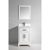 24'' Single Sink Bathroom Vanity Set With Super White Phoenix Stone Vanity Top, Sink and Mirror, White