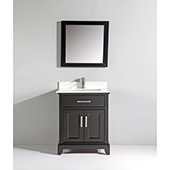 30'' Single Sink Bathroom Vanity Set With Super White Phoenix Stone Vanity Top, Sink and Mirror, Espresso