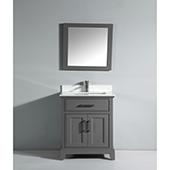 30'' Single Sink Bathroom Vanity Set With Super White Phoenix Stone Vanity Top, Sink and Mirror, Gray
