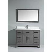 48'' Single Sink Bathroom Vanity Set With Super White Phoenix Stone Vanity Top, Sink and Mirror, Gray