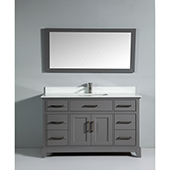 60'' Single Sink Bathroom Vanity Set With Super White Phoenix Stone Vanity Top, Sink and Mirror, Gray