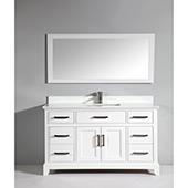 60'' Single Sink Bathroom Vanity Set With Super White Phoenix Stone Vanity Top, Sink and Mirror, White