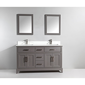 72'' Double Sink Bathroom Vanity Set With Super White Phoenix Stone Vanity Top, Sinks (2) and Mirrors (2), Gray