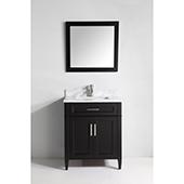 30'' Single Sink Bathroom Vanity Set With Carrara Marble Vanity Top, Sink and Mirror, Espresso