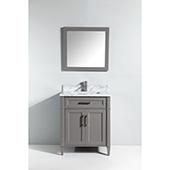 30'' Single Sink Bathroom Vanity Set With Carrara Marble Vanity Top, Sink and Mirror, Gray