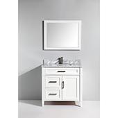 36'' Single Sink Bathroom Vanity Set With Carrara Marble Vanity Top, Sink and Mirror, White