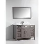 60'' Single Sink Bathroom Vanity Set With Carrara Marble Vanity Top, Sink and Mirror, Gray