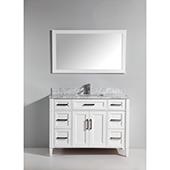 60'' Single Sink Bathroom Vanity Set With Carrara Marble Vanity Top, Sink and Mirror, White