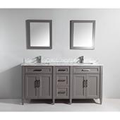 72'' Double Sink Bathroom Vanity Set With Carrara Marble Vanity Top, Sinks (2) and Mirrors (2), Gray