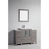 48'' Single Sink Bathroom Vanity Set With Ceramic Vanity Top, Sink and Mirror, Gray