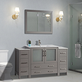 60'' Single Sink Bathroom Vanity Set With Ceramic Vanity Top, Sink and Mirror, Gray