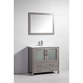 36'' Single Sink Bathroom Vanity Set With Ceramic Vanity Top, Sink and Mirror, Gray