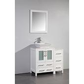 36'' Single Sink Bathroom Vanity Set With Ceramic Vanity Top, Sink and Mirror, White