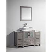 48'' Single Sink Bathroom Vanity Set With Ceramic Vanity Top, Sink and Mirror, Gray