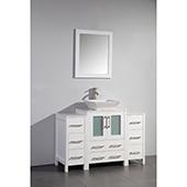 48'' Single Sink Bathroom Vanity Set With Ceramic Vanity Top, Sink and Mirror, White