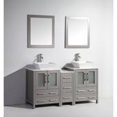 60'' Double Sink Bathroom Vanity Set With Ceramic Vanity Top, Sinks (2) and Mirrors (2), Gray