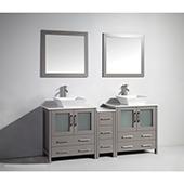 72'' Double Sink Bathroom Vanity Set With Ceramic Vanity Top, Sinks (2) and Mirrors (2), Gray