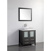 30'' Single Sink Bathroom Vanity Set With Ceramic Vanity Top, Sink and Mirror, Espresso