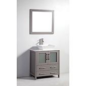 30'' Single Sink Bathroom Vanity Set With Ceramic Vanity Top, Sink and Mirror, Gray