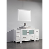 60'' Single Sink Bathroom Vanity Set With Ceramic Vanity Top, Sink and Mirror, White