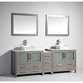 84'' Double Sink Bathroom Vanity Set With Ceramic Vanity Top, Sinks (2) and Mirrors (2), Gray