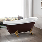 #VAR-VA6311-RL, Freestanding 67'' Acrylic Clawfoot Bathtub with UPC Certified Polished Chrome pop-up Drain and Adjustable Leveling Legs, 67'' W x  31-1/2'' D x  29-1/2'' H, Red & White