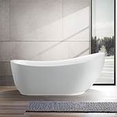 #VAR-VA6512-L, 71'' Acrylic Freestanding Bathtub, Modern Soaking Tub with Slipper Design and UPC Certified Polished Chrome Round Overflow, Pop-up Drain and Adjustable Leveling Legs, 71'' W x  35'' D x  30'' H, White