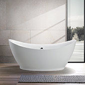 #VAR-VA6513, 68'' Acrylic Freestanding Bathtub, Modern Soaking Tub with Double Slipper Design and UPC Certified Polished Chrome Round Overflow, Pop-up Drain and Adjustable Leveling Legs, 67-1/2'' W x  31-1/2'' D x  31-1/2'' H, White