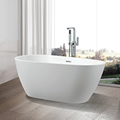 #VAR-VA6515, 59'' Small Acrylic Freestanding Bathtub, Modern Soaking Tub with UPC Certified Polished Chrome Slotted Overflow, Pop-up Drain and Adjustable Leveling Legs, 59'' W x  29-1/2'' D x  24'' H, White