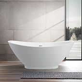 #VAR-VA6516, 69'' Acrylic Freestanding Bathtub, Modern Soaking Bowl Shaped Tub with UPC Certified Polished Chrome Slotted Overflow, Pop-up Drain and Adjustable Leveling Legs, 69'' W x  33-1/2'' D x  27-1/2'' H, White
