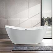 #VAR-VA6517, 71'' Acrylic Freestanding Bathtub, Modern Soaking Tub with Double Slipper and UPC Certified Polished Chrome Slotted Overflow, Pop-up Drain and Adjustable Leveling Legs, 71'' W x  31-1/2'' D x  28-3/10'' H, White
