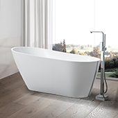 #VAR-VA6522, 67'' Acrylic Freestanding Bathtub, Modern Soaking Tub with Sloped Design and UPC Certified Polished Chrome Slotted Overflow, Pop-up Drain and Adjustable Leveling Legs, 67'' W x  31-1/2'' D x  28-3/10'' H, White
