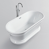 #VAR-VA6610-L, 67'' Acrylic Freestanding Bathtub with Base, Modern Soaking Tub with UPC Certified Polished Chrome Slotted Overflow, Pop-up Drain and Adjustable Leveling Legs, 67'' W x  31'' D x  23-1/2'' H, White
