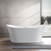 #VAR-VA6805, 67'' Acrylic Freestanding Bathtub with Low Profile Double Slipper Design, Modern Soaking Tub with UPC Certified Polished Chrome Slotted Overflow, Pop-up Drain and Adjustable Leveling Legs, 67'' W x  30-1/2'' D x  29-1/2'' H, White