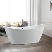 #VAR-VA6807, 71'' Gently Sloped Acrylic Freestanding Bathtub, Modern Soaking Tub with UPC Certified Polished Chrome Round Overflow, Pop-up Drain and Adjustable Leveling Legs, 71'' W x  34'' D x  25-3/5'' H, White