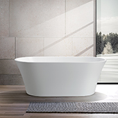 #VAR-VA6809, 63'' Acrylic Freestanding bathtub with UPC Certified Polished Chrome Pop-up Drain and Adjustable Leveling Legs, 63'' W x  29-1/2'' D x  23-3/5'' H, White