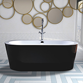 #VAR-VA6812-BL, 68'' Acrylic Freestanding Bathtub, Modern Soaking Tub with UPC Certified Polished Chrome Round Overflow, Pop-up Drain and Adjustable Leveling Legs, 67.7'' W x  32'' D x  23-1/2'' H, Black