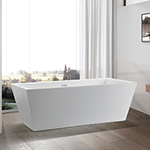 #VAR-VA6814, 59'' Small Acrylic Freestanding Bathtub with Squared Design, Modern Soaking Tub with UPC Certified Polished Chrome Slotted Overflow, Pop-up Drain and Adjustable Leveling Legs, 59'' W x  29-1/2'' D x  24'' H, White