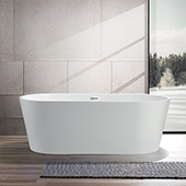 #VAR-VA6815-L, 68'' Rounded Acrylic Freestanding Bathtub, Modern Soaking Tub with UPC Certified Polished Chrome Slotted Overflow, Pop-up Drain and Adjustable Leveling Legs, 67-1/2'' W x  32'' D x  23'' H, White