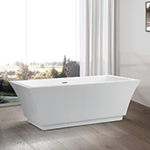 #VAR-VA6817, 59'' Small Squared Acrylic Freestanding Bathtub, Modern Soaking Tub with UPC Certified Polished Chrome Slotted Overflow, Pop-up Drain and Adjustable Leveling Legs, 59'' W x  29-1/2'' D x  24'' H, White