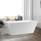 #VAR-VA6820, 68'' Acrylic Freestanding Bathtub with Squared Design, Modern Soaking Tub with UPC Certified Polished Chrome Slotted Overflow, Pop-up Drain and Adjustable Leveling Legs, 67'' W x  29-1/2'' D x  23-3/5'' H, White