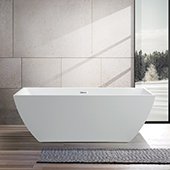 #VAR-VA6821-L, 67'' Curved Acrylic Freestanding Bathtub, Modern Soaking Tub with UPC Certified Polished Chrome Slotted Overflow, Pop-up Drain and Adjustable Leveling Legs, 66-1/2'' W x  31-1/2'' D x  23'' H, White