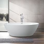 #VAR-VA6834, 68'' Oval Acrylic Freestanding Bathtub, Modern Soaking Tub with UPC Certified Polished Chrome Slotted Overflow, Pop-up Drain and Adjustable Leveling Legs, 69'' W x  39.4'' D x  22-4/5'' H, White